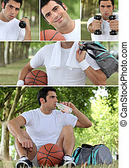 Photo-montage of a basket-ball player