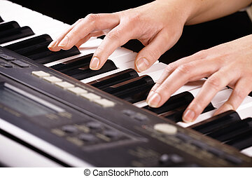 Woman's, hands, playing, music, piano