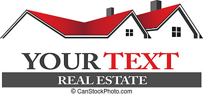 Real estate logo - Group of houses in erd and black