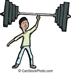 Skinny Weightlifter - Skinny Latino teen lifts large barbell...