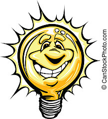 Happy Bright Idea Light Bulb Cartoo - Cartoon Light Bulb...