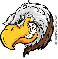 águia, mascote, cabeça, Astuto, expressi