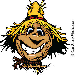 Happy Scarecrow Face with Straw Hat - Cartoon Scarecrow with...