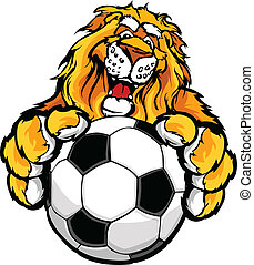 Cute Happy Lion Mascot with Soccer - Graphic Mascot Vector...