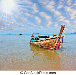 Beautifully decorated native boat Longtail - Gentle warm...