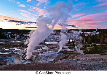 Norris Geyser Basin after Sunset - Spectacular Shot of...