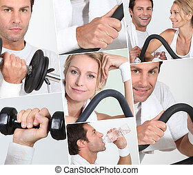 man and woman doing sports