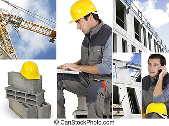 Photo-montage of a building worker