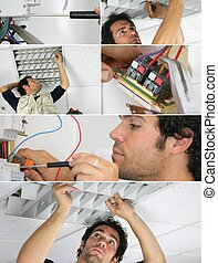 Electrician working, photo-montage