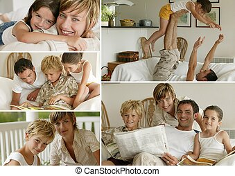 Parents with children at home, photo-montage