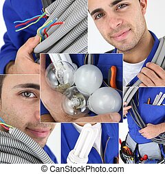 joven, electricista, photo-montage