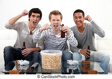 compañeros, Mirar, fútbol, igual, Televisor
