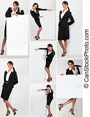 Collage of a businesswoman holding a blank sign