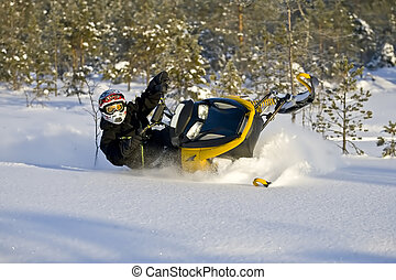 Snowmobile in Powder Snow - Snowmobile action in Powder Snow