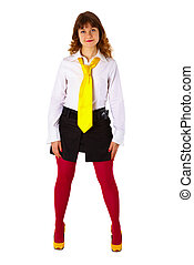 Young girl in red stockings and a yellow tie