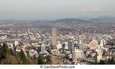 Portland Oregon Cityscape - Portland Oregon Downtown...