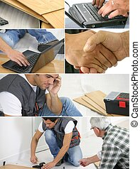 Montage of  a laborer laying laminate floor