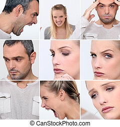 Expressions of faces of a man and a woman