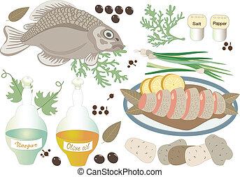 Fish lunch.Illustration.