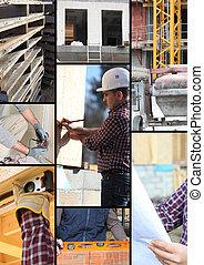 Trabalhadores, construção, local, mosaico