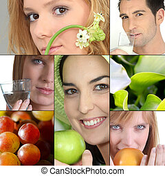 people with fruits or flowers
