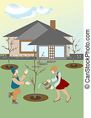 Spring came and the children plant trees and watered