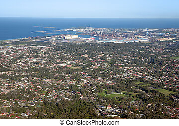 wollongong city and suburbs - looking down onto wollongong...