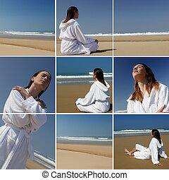 a woman in bathrobe on the beach