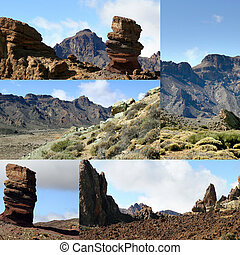 Collage of a dry and rocky landscape