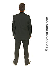 Back of full body shot business man isolated on white...