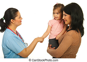 Acquaintance doctor with toddler girl and her mother...