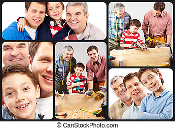 Cheerful family - Collage of three male members of the...