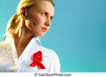 Serious employee - Portrait of pretty woman with headset and...
