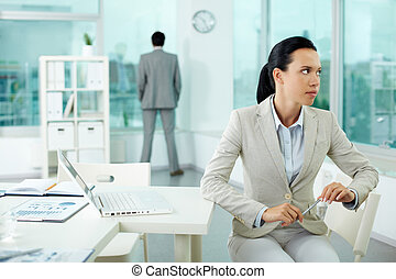 Pensive businesswoman - Portrait of pensive young...