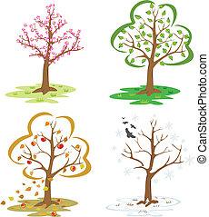 four seasons - falling leaves, winter tree, blooming...