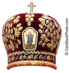 red mitre - solemn headgear of the orthodox bishop