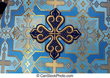 Holy Cross on blue solemn slavic orthodox priest's mantle