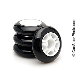 Inline skate wheels. Isolated over white