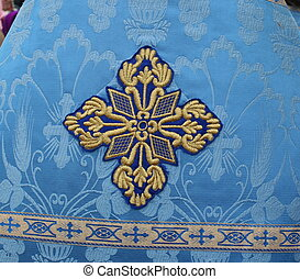 Blue solemn slavic orthodox priest's mantle