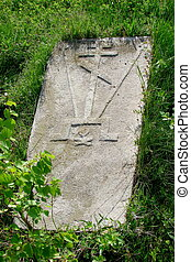 Ancient tombstone of earlier Slavic Orthodox christians