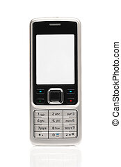 Mobile phone isolated over white
