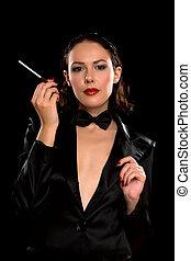 香煙, 婦女, 好, 年輕, 肖像