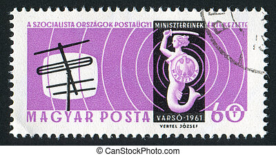 television screen and antenna - HUNGARY - CIRCA 1961: stamp...