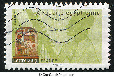 Egyptian antique - FRANCE - CIRCA 2007: stamp printed by...