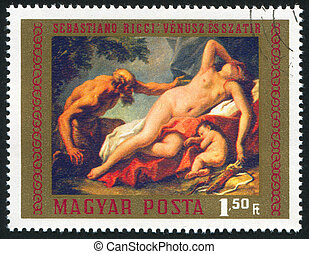 Venus and Satyr - HUNGARY - CIRCA 1970: stamp printed by...