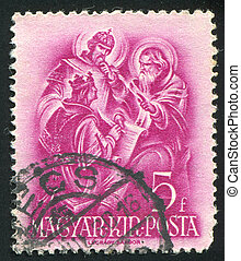 Saint Stephen - HUNGARY - CIRCA 1937: stamp printed by...