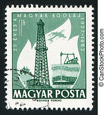 Oil Derrick - HUNGARY – CIRCA 1962: stamp printed by...