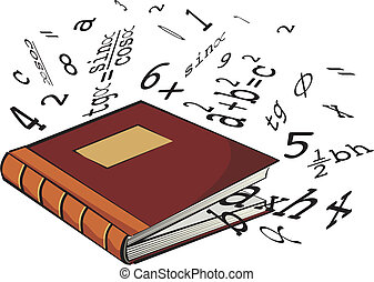 school textbook - numbers and mathematical formulas,...