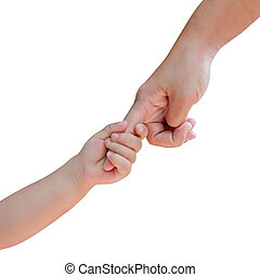 parental hand holds hand the baby