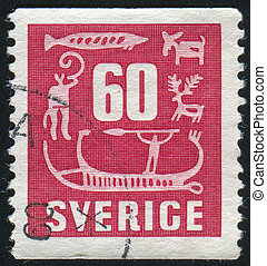 Rock Carvings - SWEDEN - CIRCA 1954: stamp printed by...
